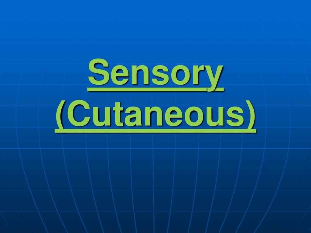 Sensory (Cutaneous)