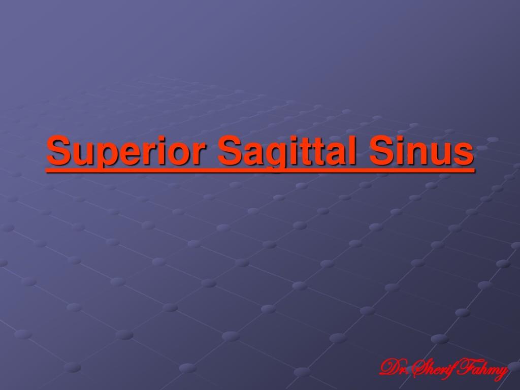 Superior Sagittal Sinus Dr.Sherif Fahmy
