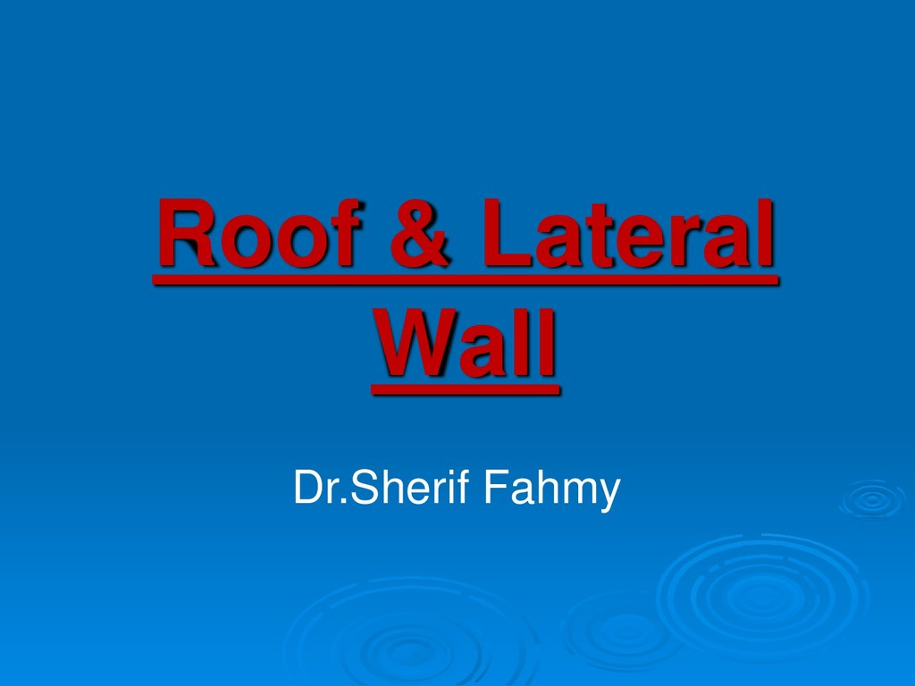 Roof & Lateral Wall Dr.Sherif Fahmy