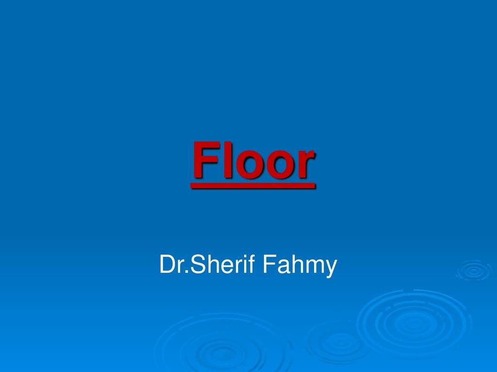 Floor Dr.Sherif Fahmy
