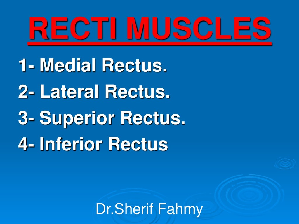 RECTI MUSCLES 1- Medial Rectus. 2- Lateral Rect...