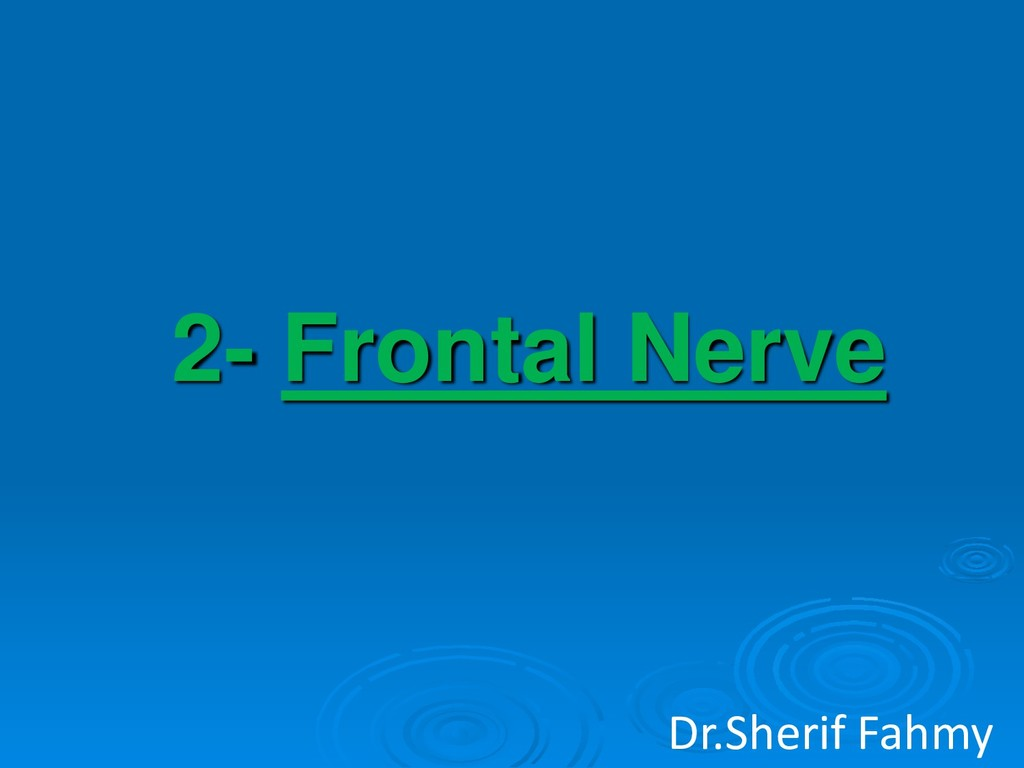2- Frontal Nerve Dr.Sherif Fahmy