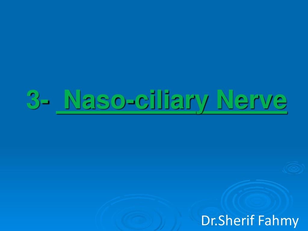3- Naso-ciliary Nerve Dr.Sherif Fahmy