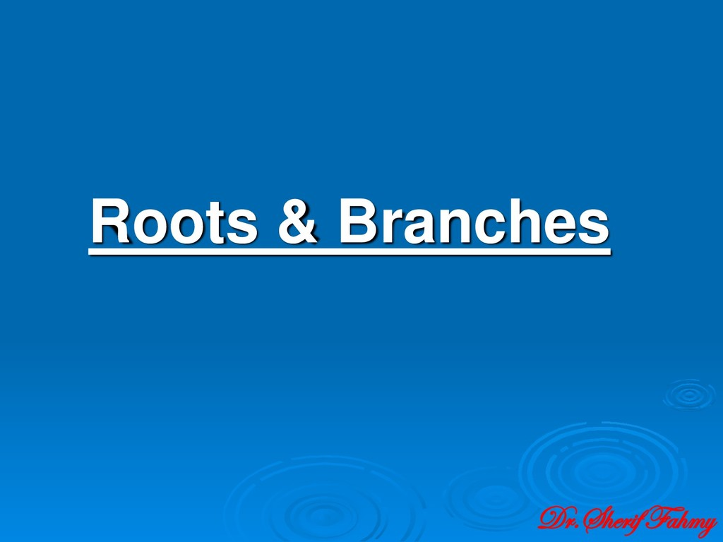Roots & Branches Dr.Sherif Fahmy
