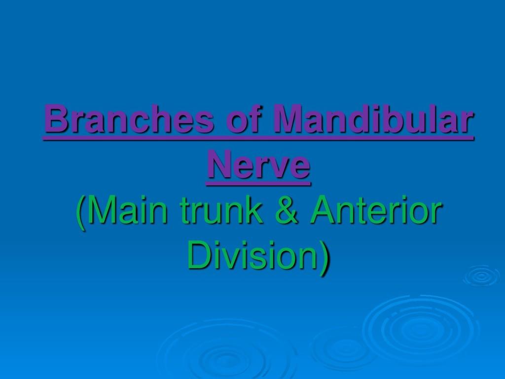 Branches of Mandibular Nerve (Main trunk & Ante...