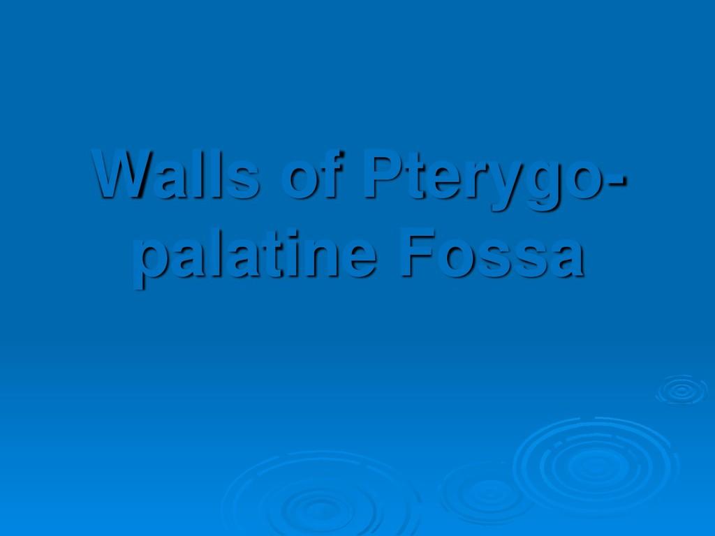 Walls of Pterygo- palatine Fossa