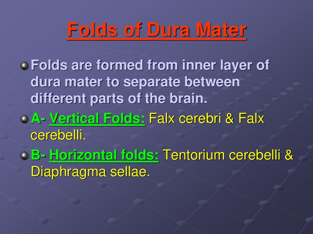 Folds of Dura Mater Folds are formed from inner...