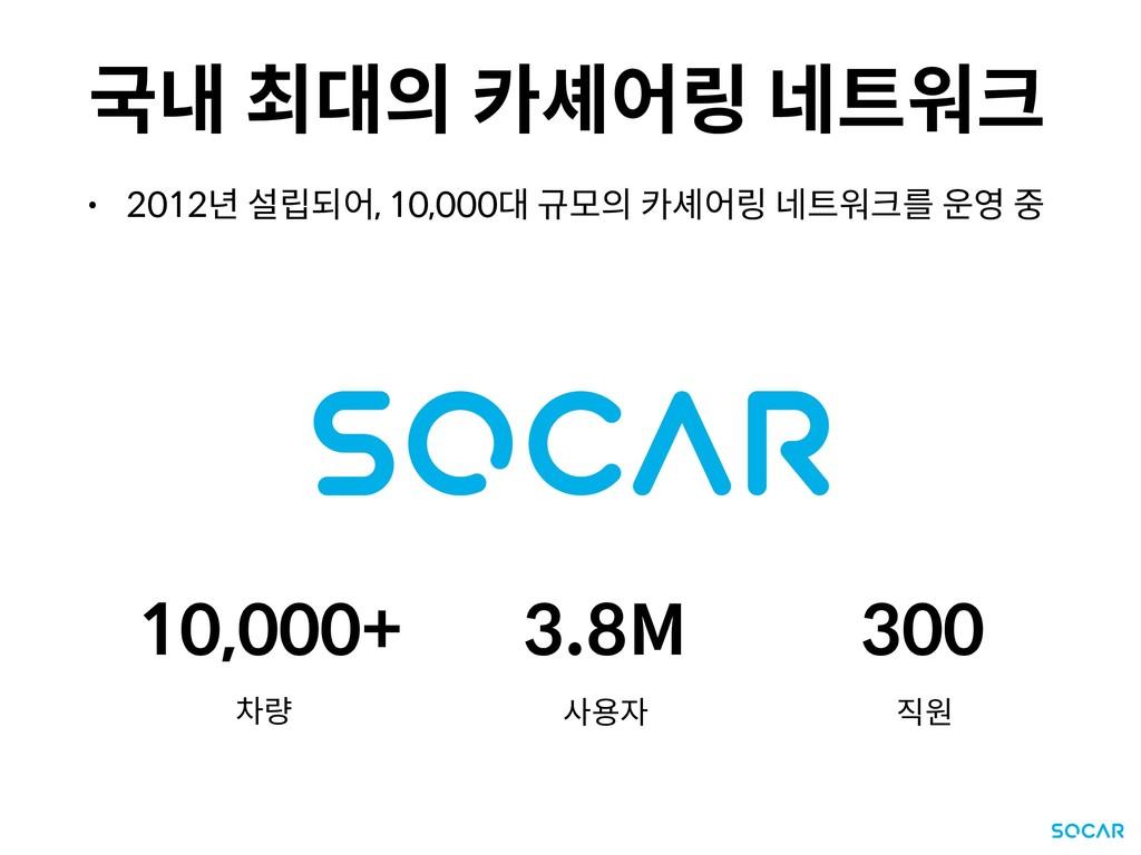 국내 최대의 카셰어링 네트워크 • 2012년 설립되어, 10,000대 규모의 카셰어링...