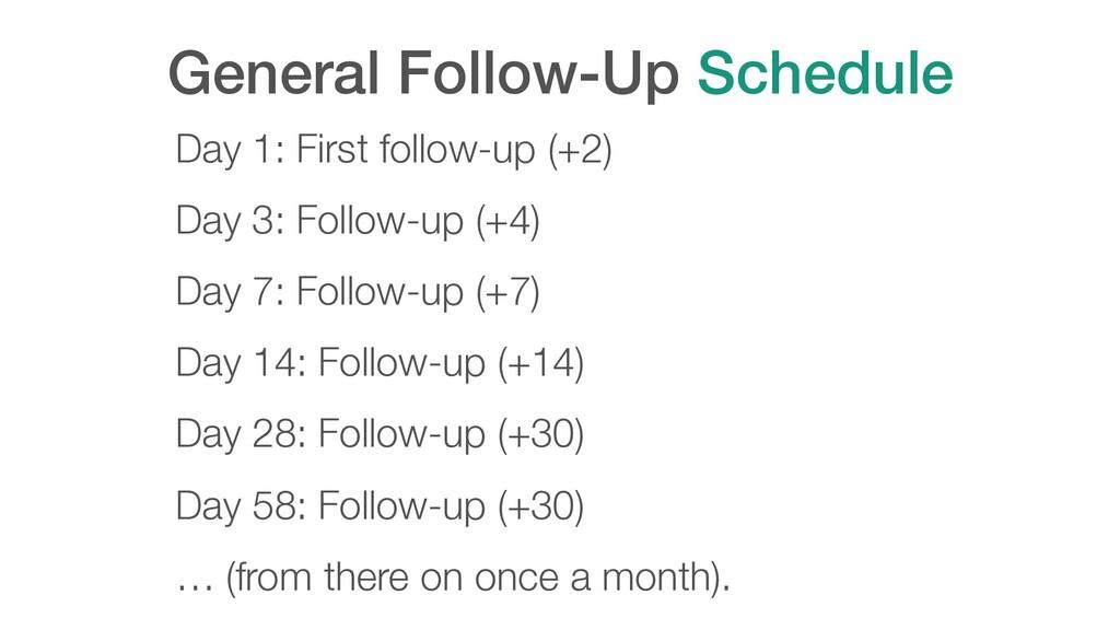 General Follow-Up Schedule Day 1: First follow-...