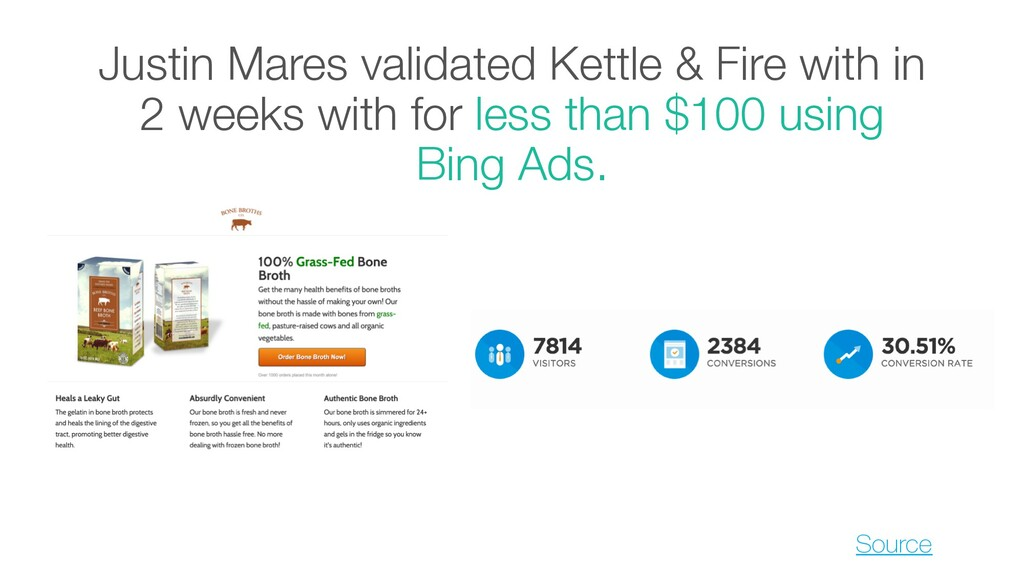 Justin Mares validated Kettle & Fire with in 2 ...