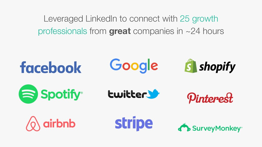 Leveraged LinkedIn to connect with 25 growth pr...