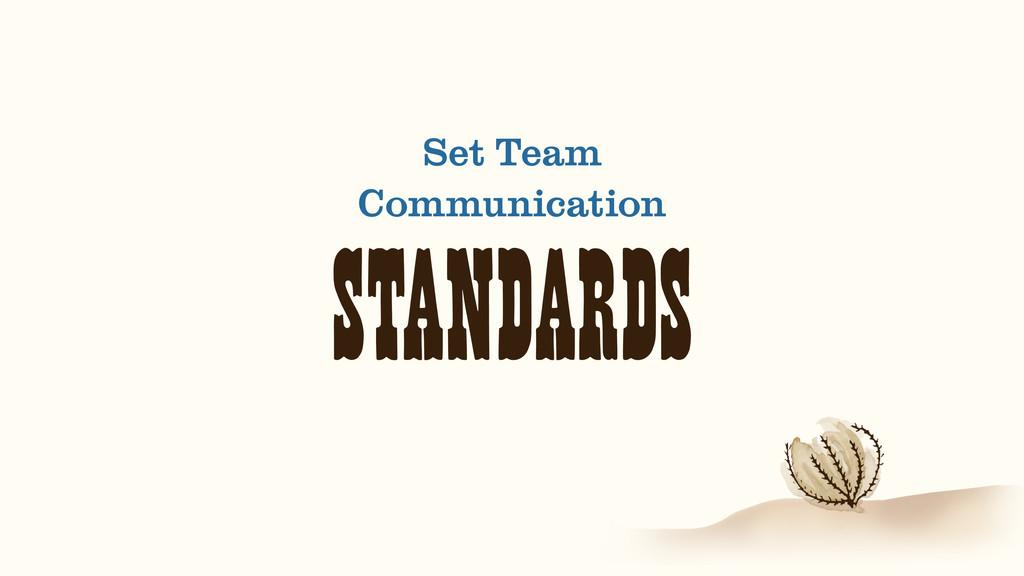 STANDARDS Set Team Communication