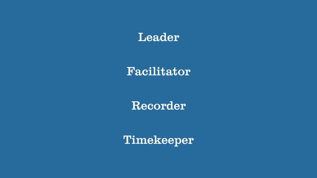 Leader Recorder Facilitator Timekeeper