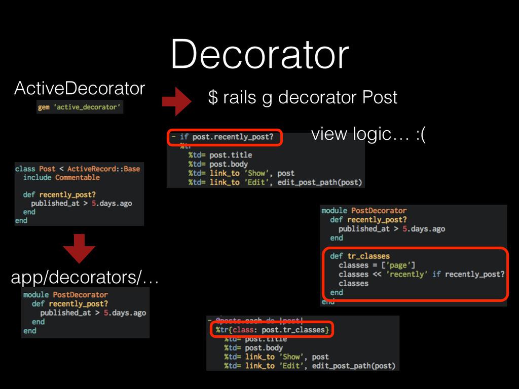 Decorator ActiveDecorator view logic… :( $ rail...