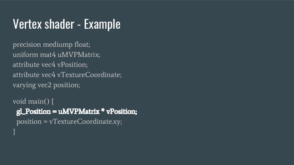 Vertex shader - Example precision mediump float...