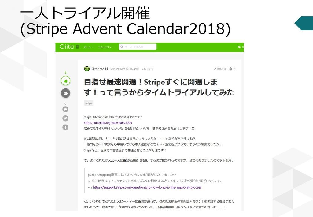 一人トライアル開催 (Stripe Advent Calendar2018)