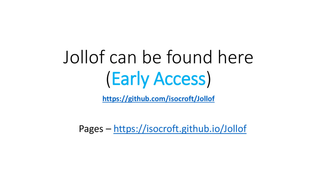Jollof can be found here (Early Access) https:/...