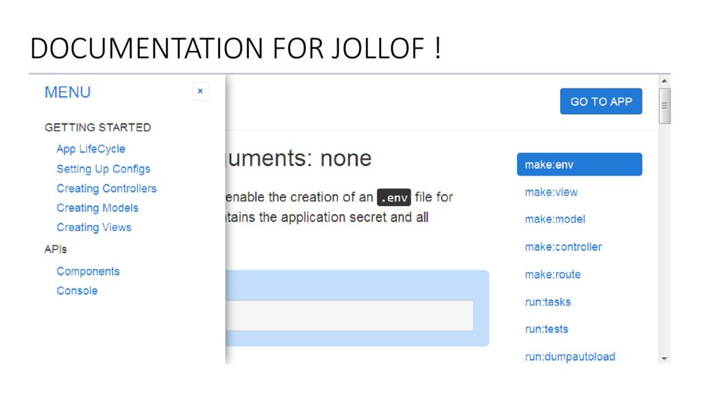 DOCUMENTATION FOR JOLLOF !