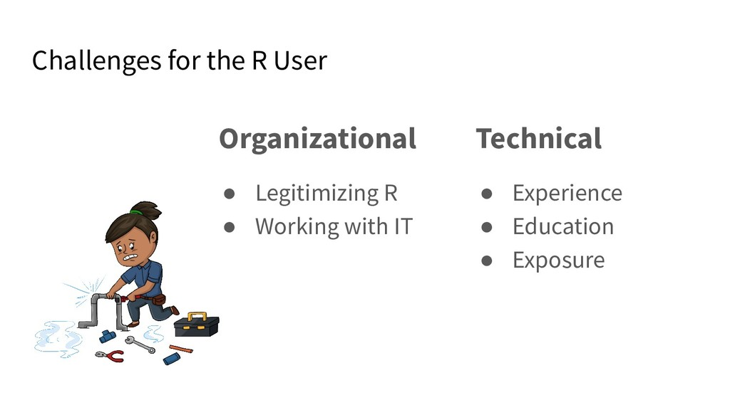 Challenges for the R User Organizational ● Legi...