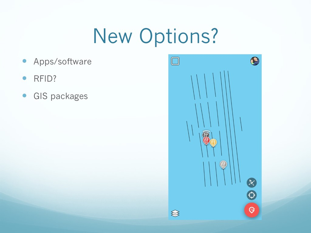 New Options? — Apps/software — RFID? — GIS pack...