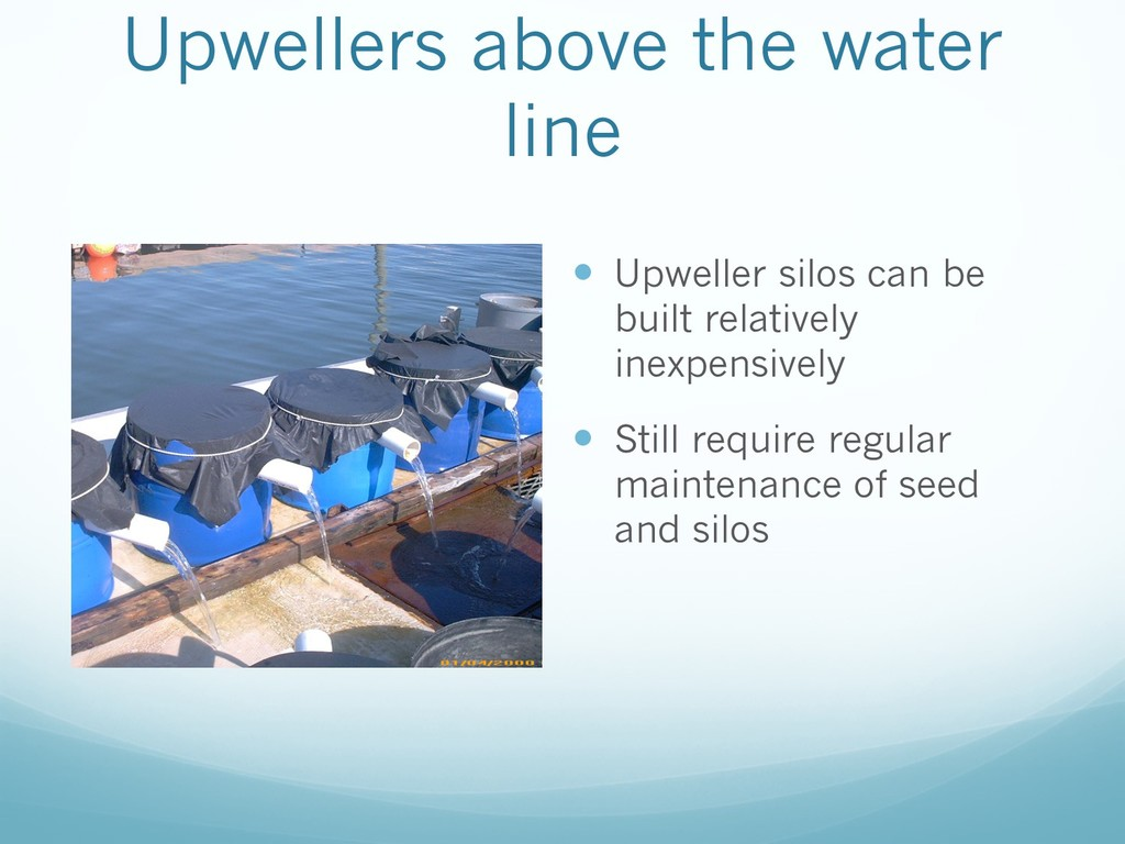 Upwellers above the water line — Upweller silos...
