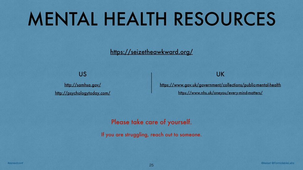 MENTAL HEALTH RESOURCES 25 Please take care of ...