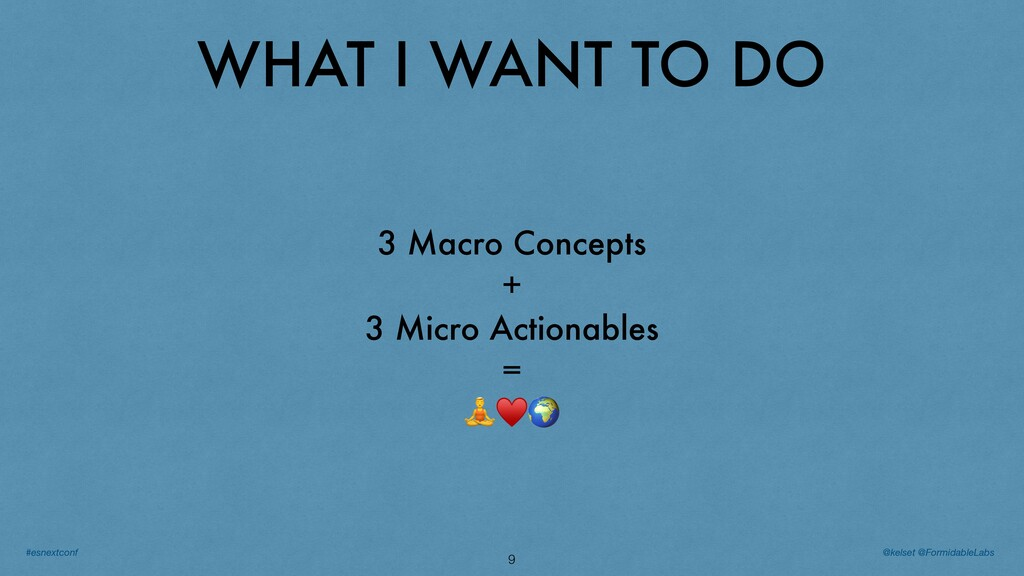 WHAT I WANT TO DO 9 3 Macro Concepts + 3 Micro ...