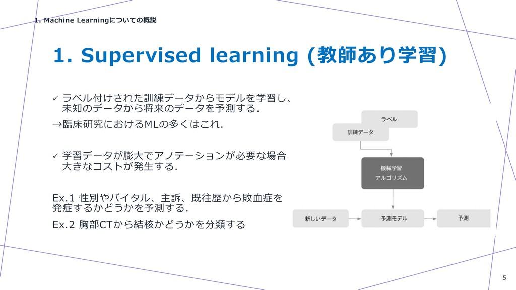 1. Supervised learning (教師あり学習) ü ラベル付けされた訓練データ...