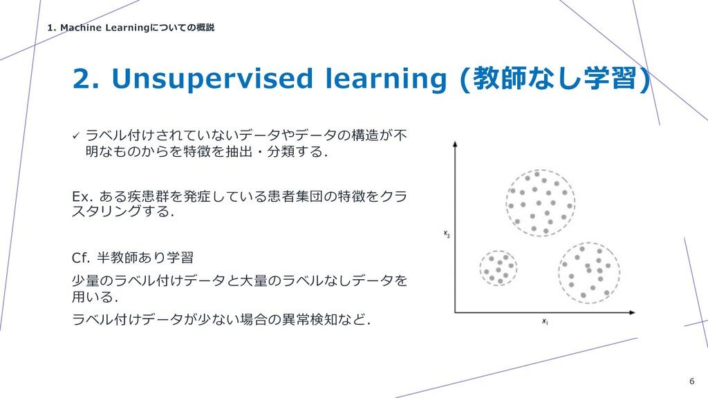 2. Unsupervised learning (教師なし学習) ü ラベル付けされていない...