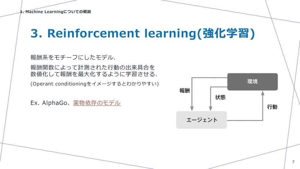 3. Reinforcement learning(強化学習) 報酬系をモチーフにしたモデル....