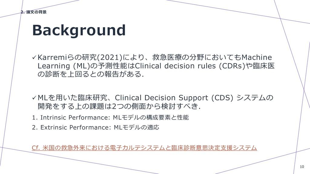 Background ü Karremiらの研究(2021)により、救急医療の分野においてもM...