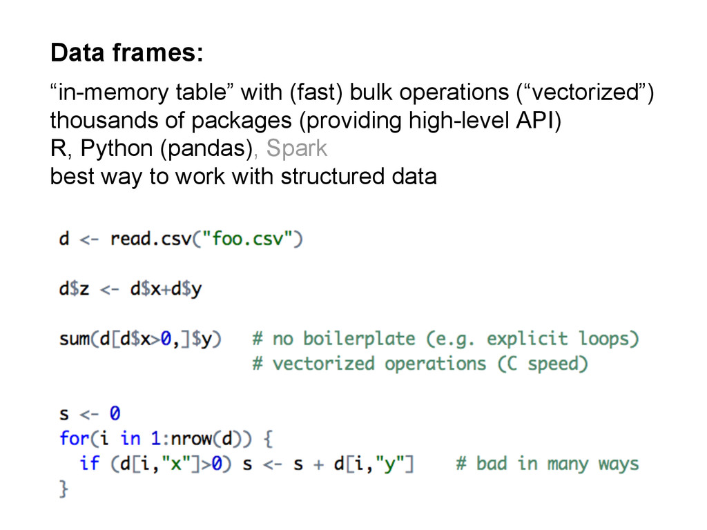 """Data frames: """"in-memory table"""" with (fast) bulk..."""