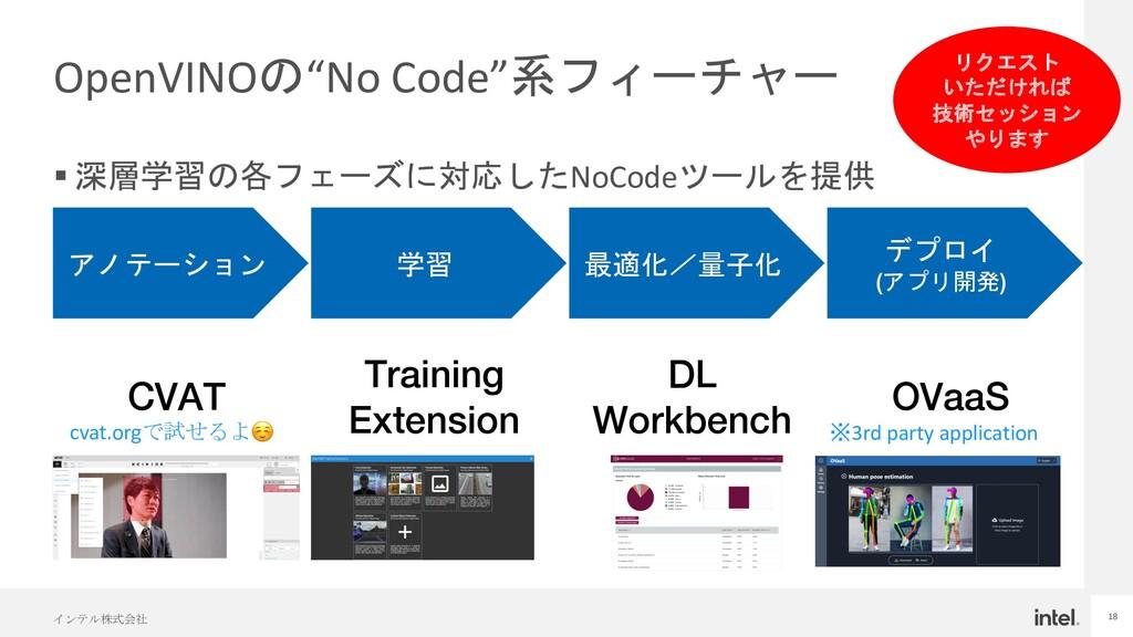 """インテル株式会社 18 OpenVINOの""""No Code""""系フィーチャー § 深層学習の各フ..."""