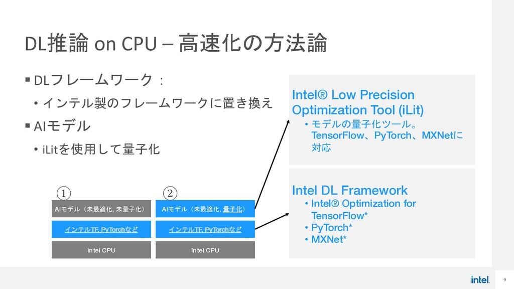 9 DL推論 on CPU – 高速化の方法論 § DLフレームワーク: • インテル製のフレ...
