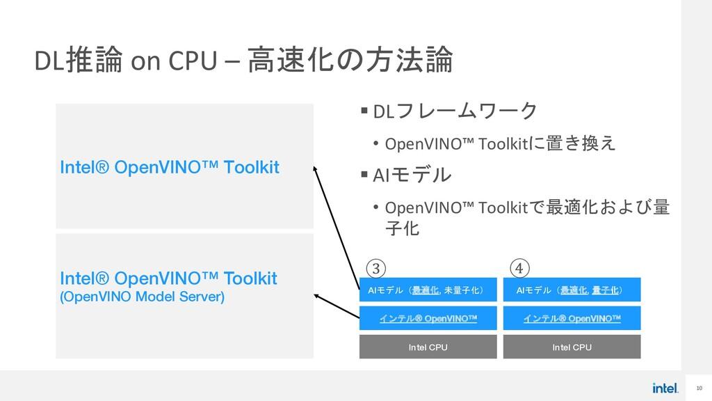 10 DL推論 on CPU – 高速化の方法論 § DLフレームワーク • OpenVINO...