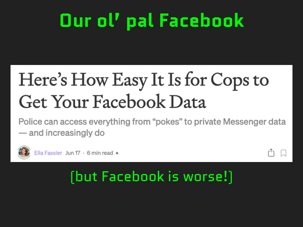 (but Facebook is worse!) Our ol' pal Facebook