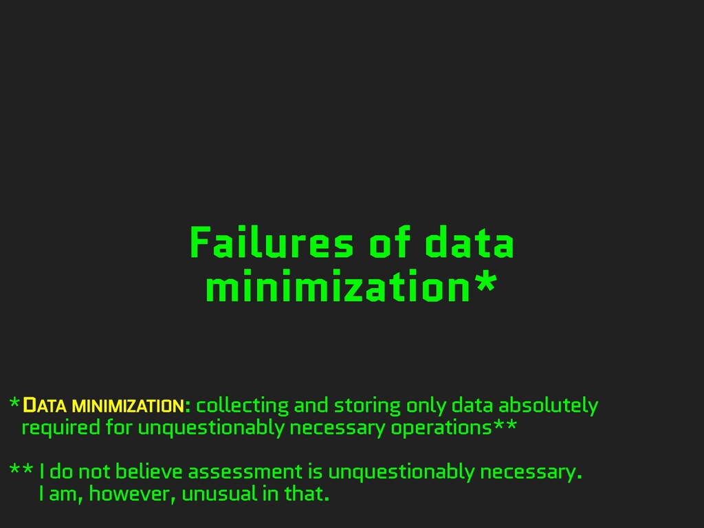 Failures of data minimization* *DATA MINIMIZATI...