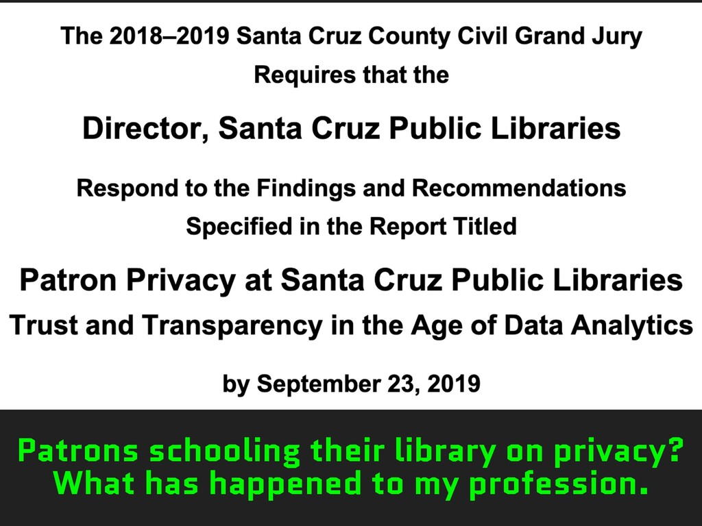 Patrons schooling their library on privacy? Wha...
