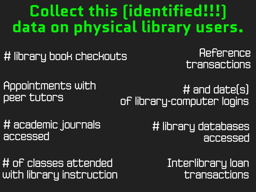 # library book checkouts # and date(s) of libra...