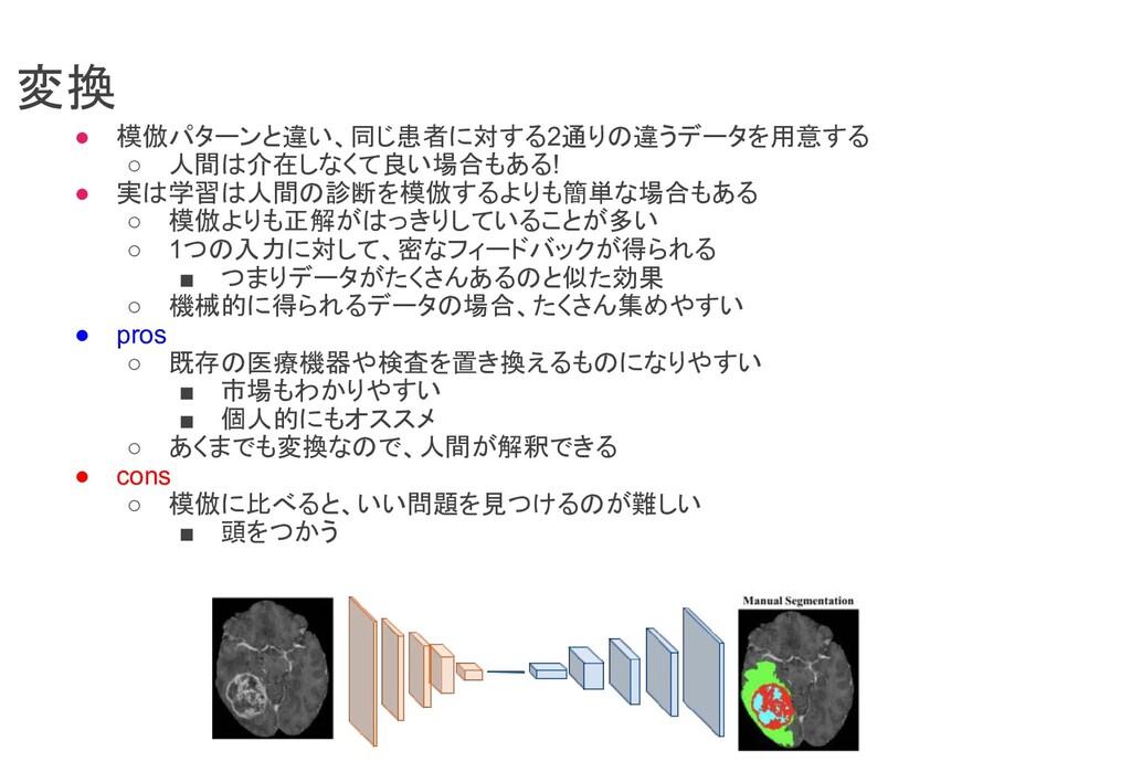 変換 ● 模倣パターンと違い、同じ患者に対する2通りの違うデータを用意する ○ 人間は介在しな...