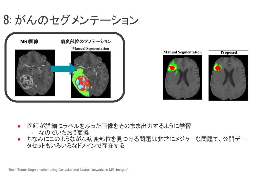 ● 医師が詳細にラベルをふった画像をそのまま出力するように学習 ○ なのでいちおう変換 ● ち...