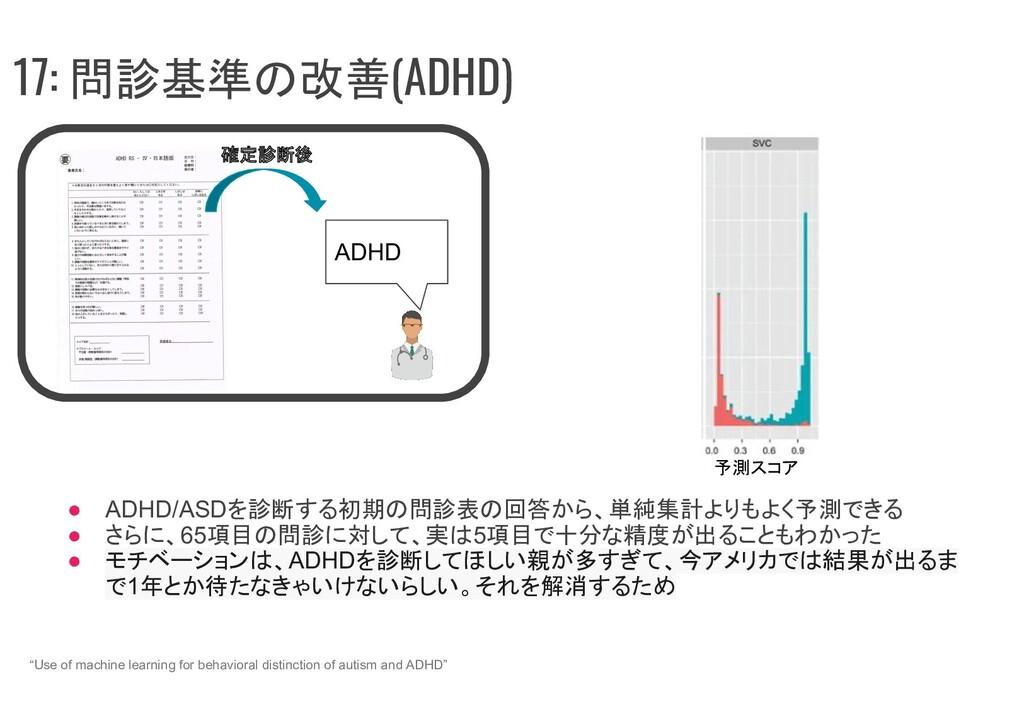 """17: 問診基準の改善(ADHD) """"Use of machine learning for ..."""