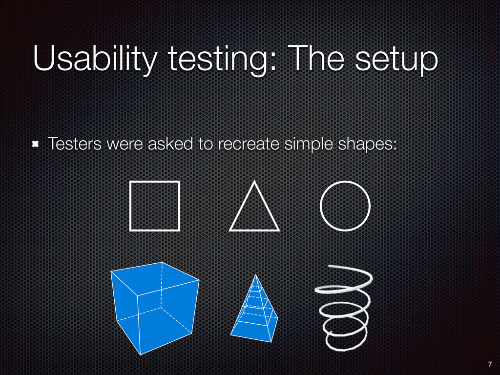 Usability testing: The setup Testers were asked...