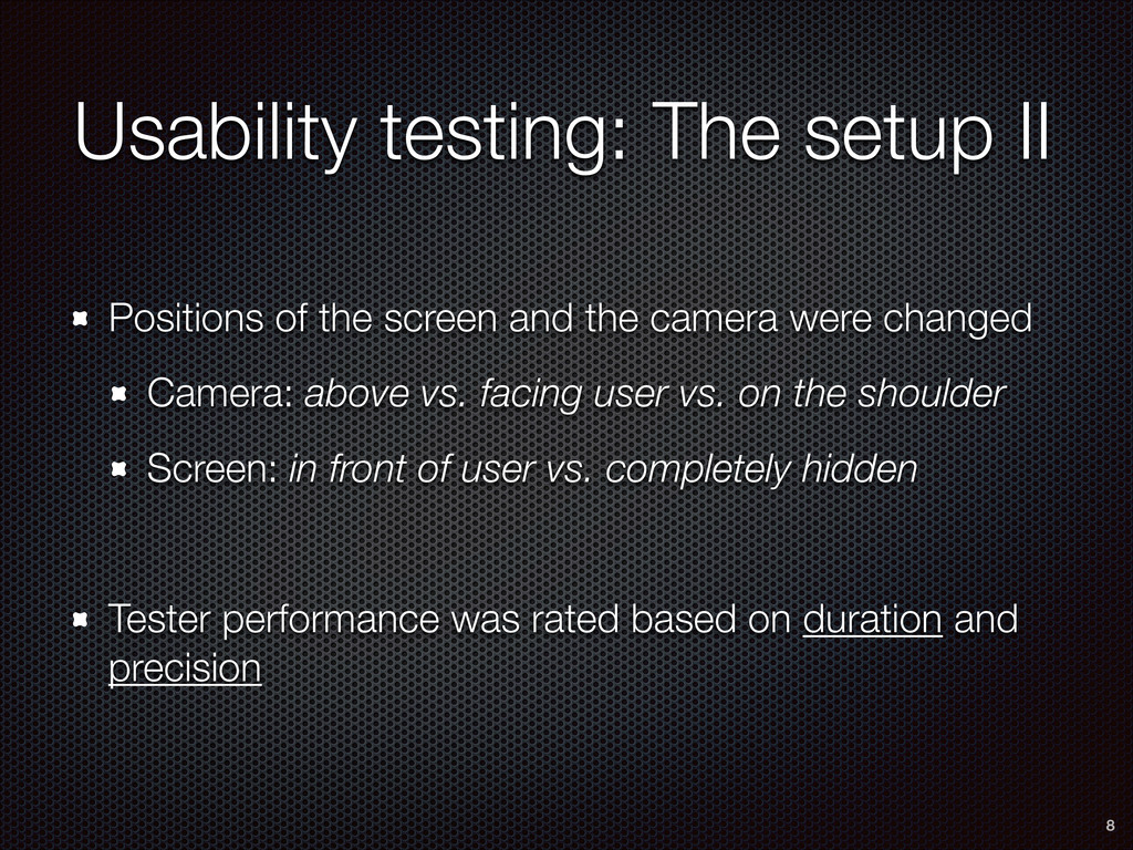 Usability testing: The setup II Positions of th...