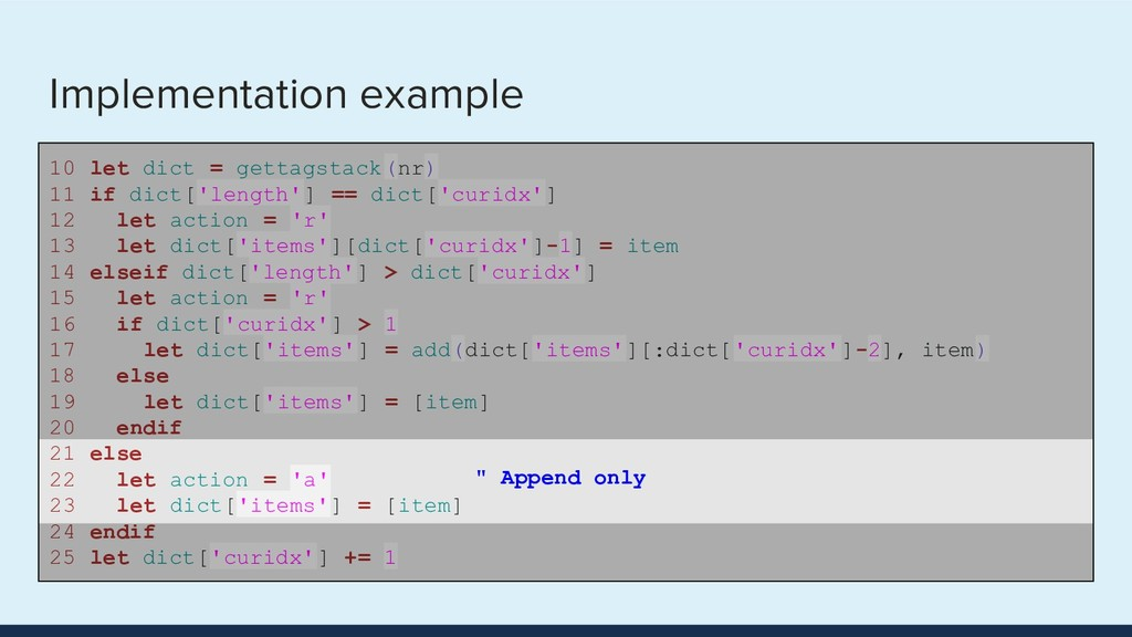 Implementation example 10 let dict = gettagstac...