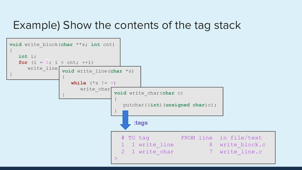 Example) Show the contents of the tag stack voi...