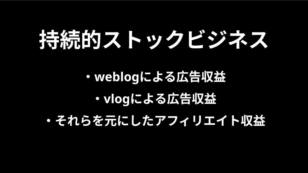 持続的ストックビジネス ・weblogによる広告収益  ・vlogによる広告収益  ・それらを...