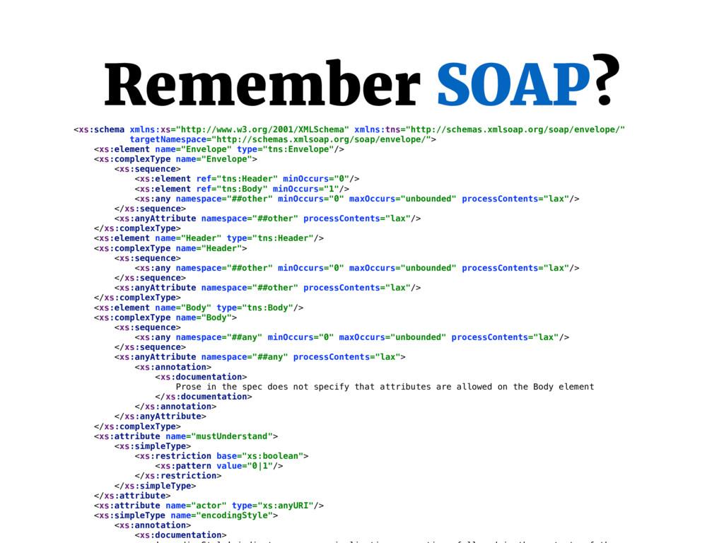 """Remember SOAP? <xs:schema xmlns:xs=""""http://www...."""