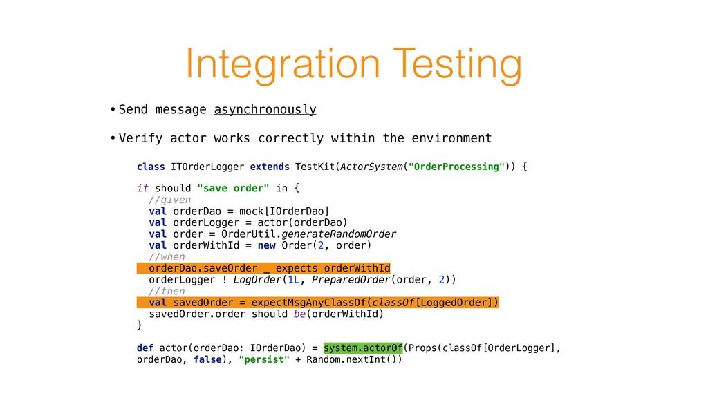 Integration Testing class ITOrderLogger extends...