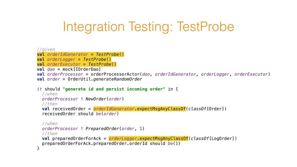 Integration Testing: TestProbe //given val ord...